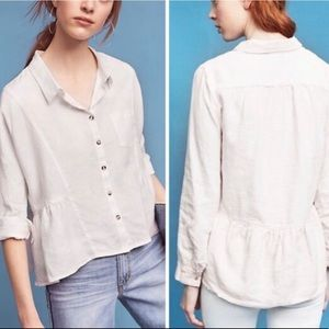 Anthropologie Cropped Linen Peplum Top